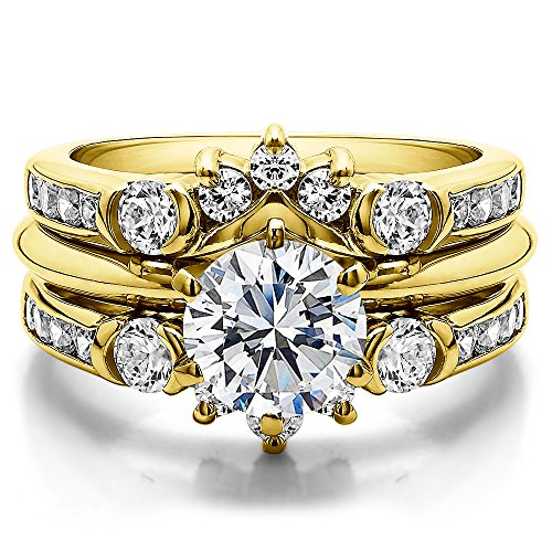 TwoBirch 1 ct. Diamonds Half Halo Classic Style Ring Guard in 10k Yellow gold (1 ct. twt.)