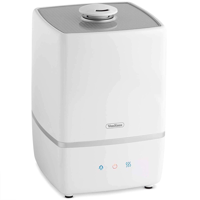 VonHaus Humidificateur 3-en-1 de 5 litres — Humidificateur, ioniseur et diffuseur d'huiles essentielles — Contrôle de l'humidité, Affichage LED, Brumisation réglable Brumisation réglable