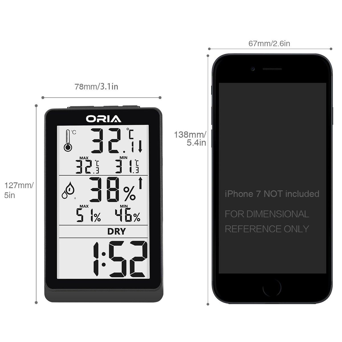 monitor con retroiluminaci/ón LCD grande Oria Term/ómetro higr/ómetro digital almac/én registros de m/ínimo y m/áximo coch para el hogar tendencia de cambio de temperatura oficina temperatura interior y humedad