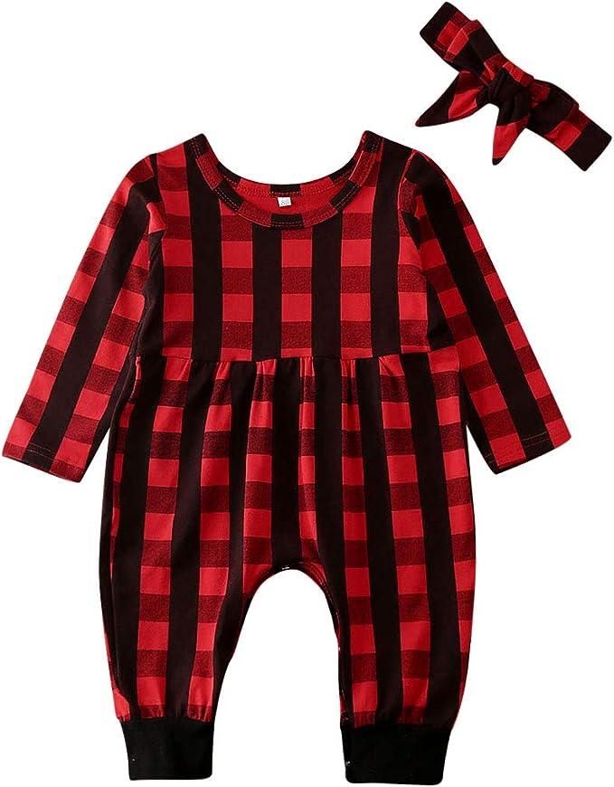Fascia per Neonata Carolilly Vestito Natale Neonata Bambina Pagliaccetto a Manica Lunga a Quadri Rosso
