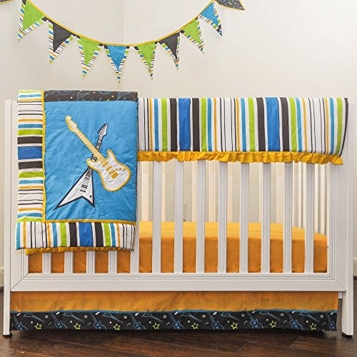 TL 10 Piece Baby Boys Blue Yellow Green Music Crib Bedding Set, Newborn Rock Star Nursery Bed Set, Guitar Themed Stripe Border Pattern Band Infant Child Quilt Blanket, Cotton Polyester - Guitar Baby Bedding
