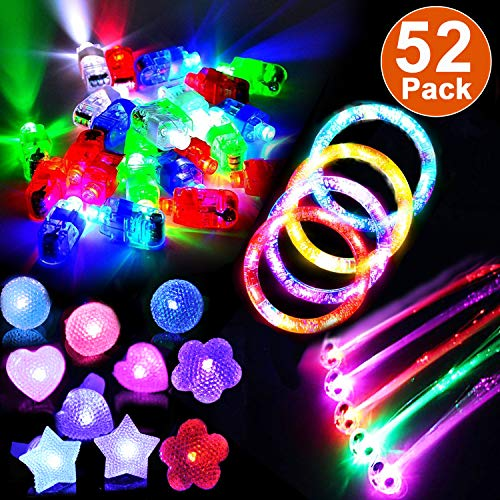 52 Pack Halloween Light Up Toys for Kids Adult Glow in the Dark Party Supplies Favors Pack with 4 Light Up Bracelets 4 Flash Hair 32 Figer Lights 12 LED Flashing Bumpy Rings for Christmas Party Gifts