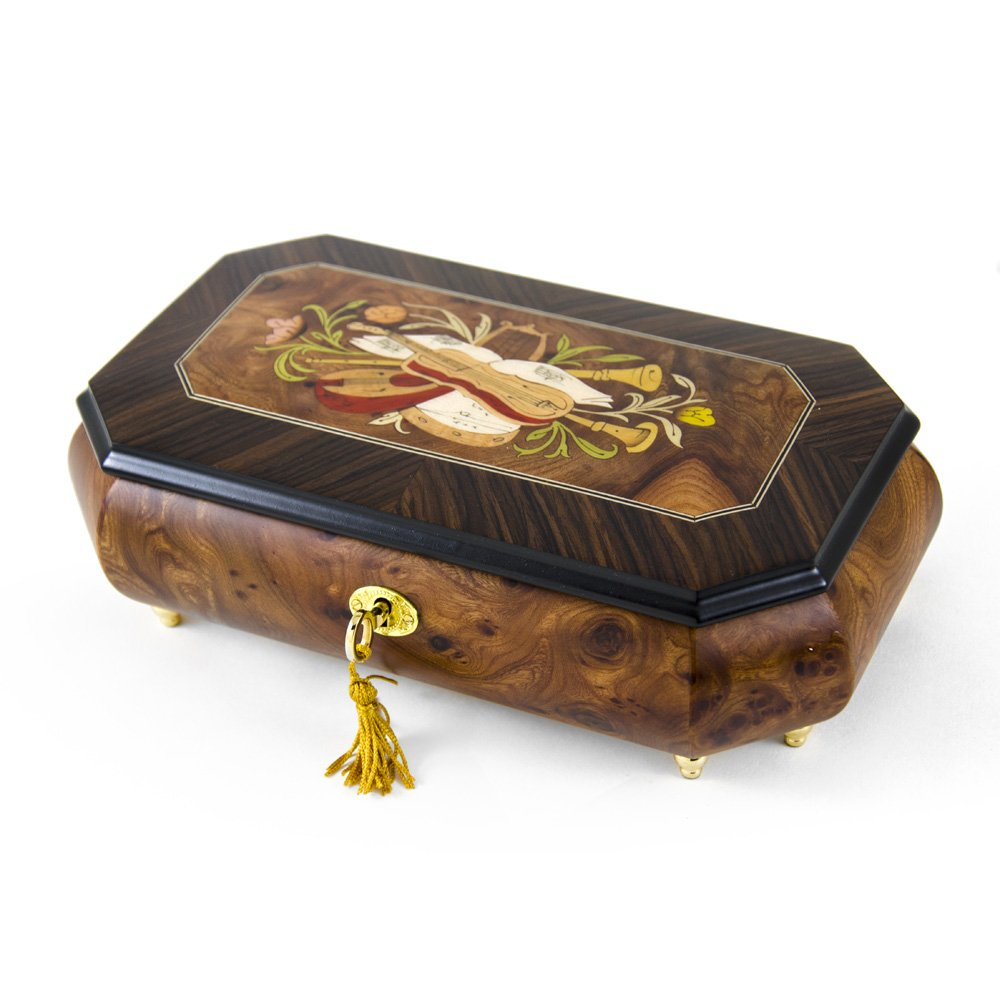 Traditional Handmade Cut-Corner Music Box with Musical Theme Inlay - In the Good Old Summertime