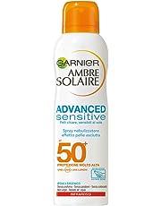 Garnier Ambre Solaire Crema Solare Advanced Sensitive, Protezione Solare in Spray senz'Alcool, Effetto Pelle Asciutta IP50+, 200 ml