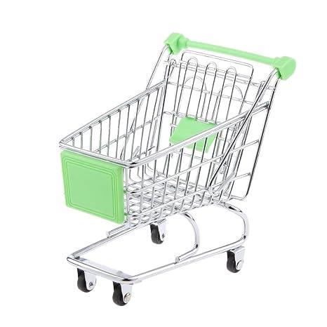 kimberleystore Creative Mini carrito de la compra carro de supermercado carrito con ruedas Asiento (verde