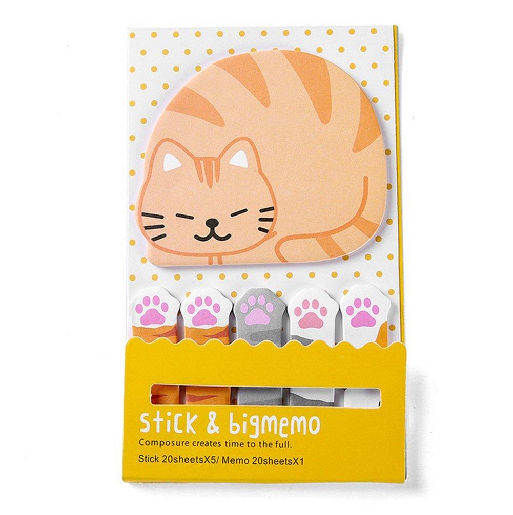 Spaufu Sticky notes stick-in notes Pad novelty Kawaii Sticky memo Pad segnapagina combinazione Suit studenti cancelleria scuola ufficio forniture 7.5*13cm Cat