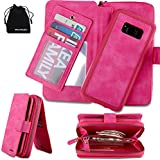 DRUnKQUEEn Galaxy S8 case,Zipper Wallet Type Flip Folio Case Premium Leather Credit Card Holder Feature - Detachable Magnetic Back Cover for Samsung Galaxy S8 - (Pink)