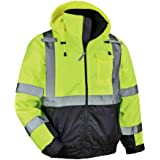 Ergodyne GloWear 8377 ANSI Black Bottom High Visibility Lime Thermal Bomber Jacket, Large