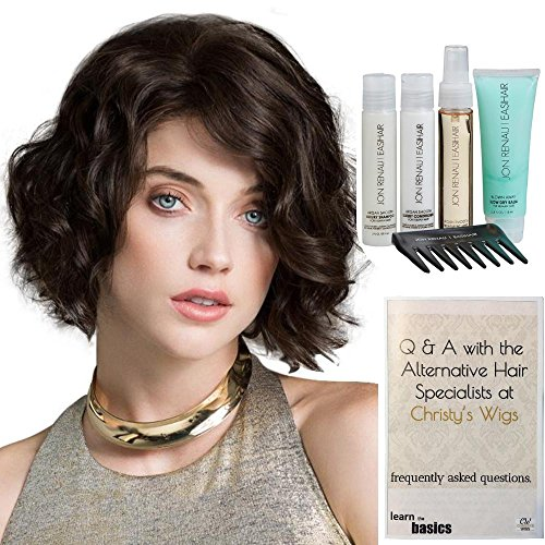 Bundle - 7 Items: DELICATE Human Hair Wig by Ellen Wille, 15 Page Christy's Wigs Q & A Booklet Luxury Shampoo & Conditioner Blown Away Treatment Mist Wide Tooth Comb COLOR: Espresso Mix by Ellen Wille & Christy's Wigs