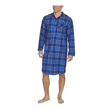 0fa8adbe0f Metzuyan Mens Nightshirt Nightwear Traditional Knee Length Blue Check Medium
