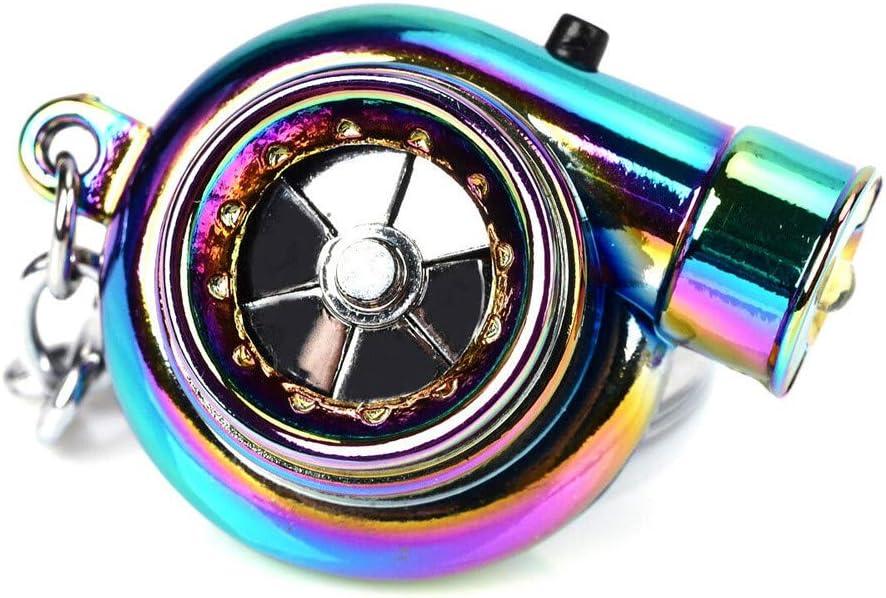 Car Metal Key Chain with LED Lights Sound Turbo Key Sleeve Bearing Spinning Model Turbine Turbo Charger Ring Key Turbo Shaped