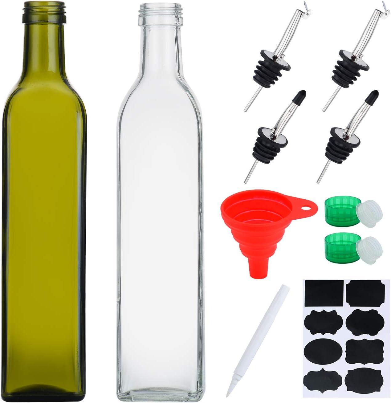 5oz Glass Olive Oil Bottle and Vinegar Cruet Sets, 5ml Oil Dispenser &  Vinegar Cruet with Pourers Spout and Funnel for Kitchen