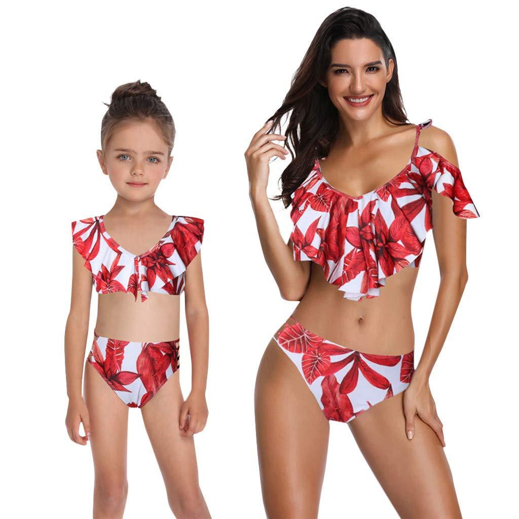 Kehen Family Matching Swimsuit Mommy and Me Swimwear Falbala One Piece Dots Printed Ruffles Monokini Bathing Suit