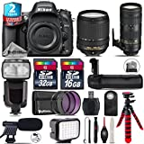 Holiday Saving Bundle for D610 DSLR Camera + 70-200mm f/2.8E VR Lens + 18-140mm VR Lens + Flash with LCD Display + Battery Grip + Shotgun Microphone + LED Kit + 2yr Warranty - International Version
