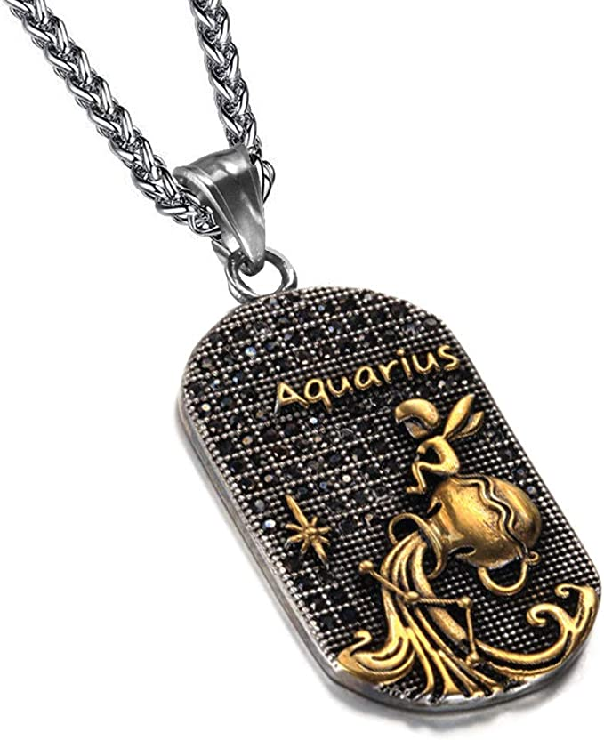 12 Constellation Pendant Stainless Steel Patron Saint Zodiac Sign Jewelry Dog Tag Necklace For Men//women Birthday Gift