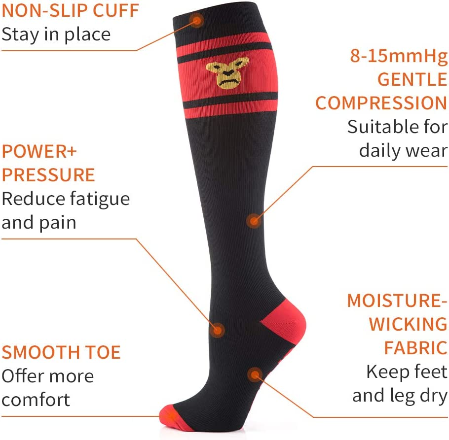 8-15 mmHg Flight and Daily Wear S//M, Black-red ,Fun Knee High Socks for Travel CAMBIVO 2 Pairs Compression Socks for Women and Men