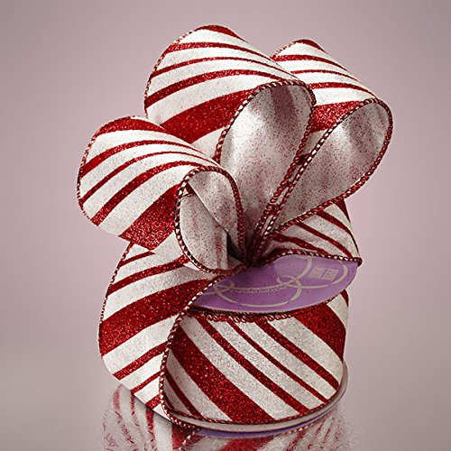 Red & White Flocked Candy Cane Wired Ribbon - 1 Roll (2.5 x 10 yards) ...