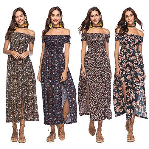 Mujer Vestidos Largos De Verano Casual Vintage Bohemio Florales Estampados Hippies Elegantes Manga Corta Vestidos Largos