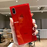 Facweek iPhone Xs Max Square Case for Girls Clear Xmax Transparent Cases Reinforced Corners Soft TPU Cushion Ultra-Thin Slim Cover Silicone Shell-Clear Red