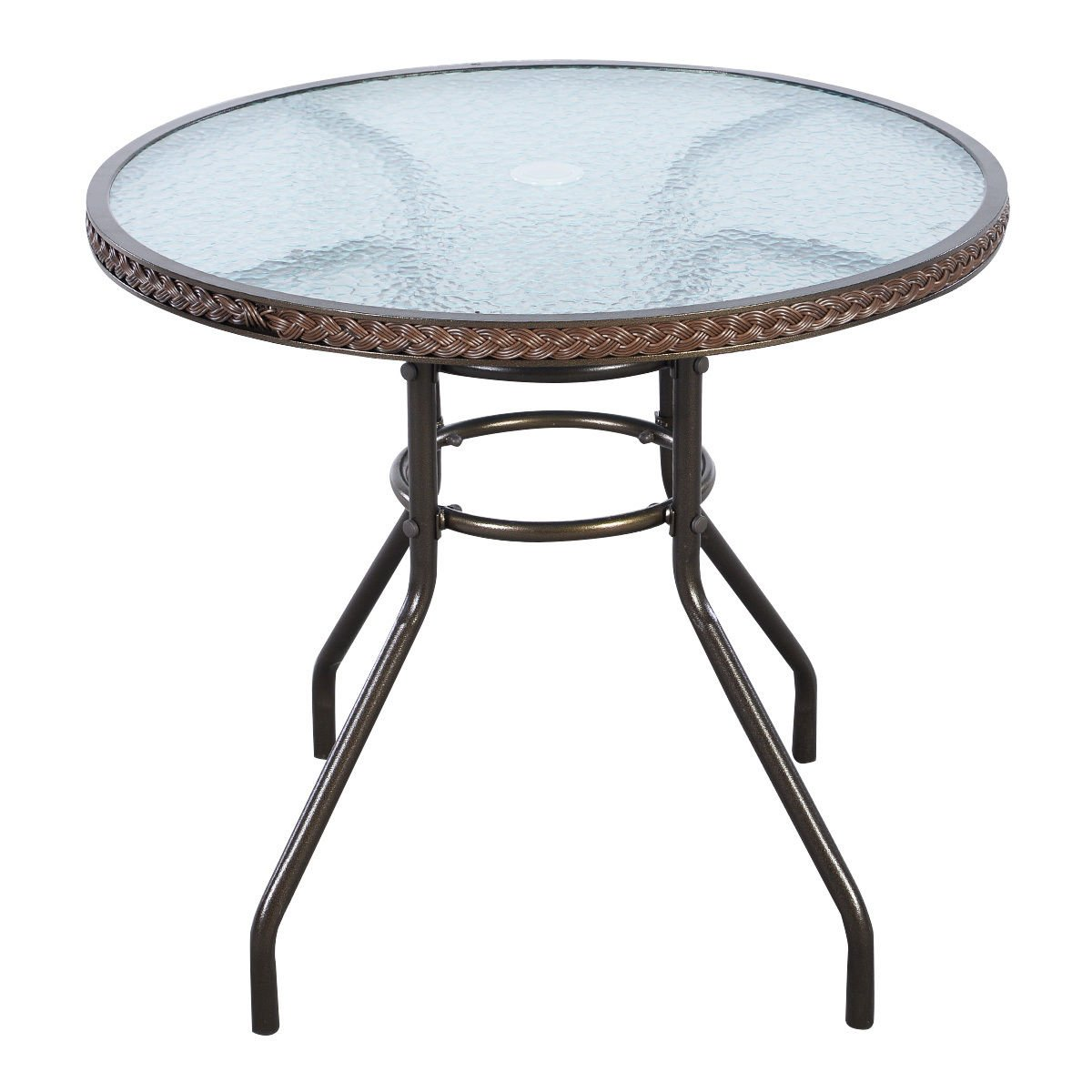 FDInspiration 31'' Brown Patio Rattan Round Tempered Glass Top Table w/Umbrella Hole
