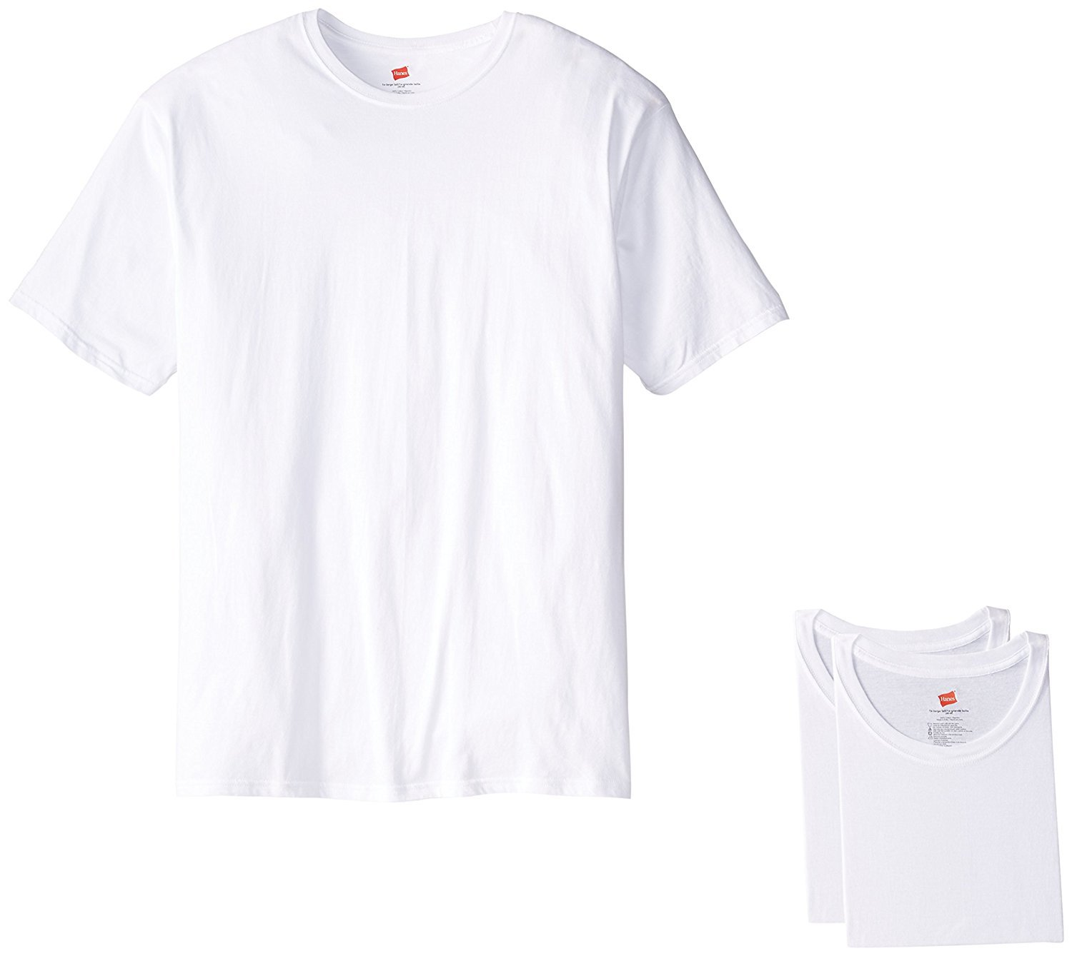 Hanes Men's Tall Man Crew T-Shirt (Pack of 3) (XXXXX-Large, White) by Hanes