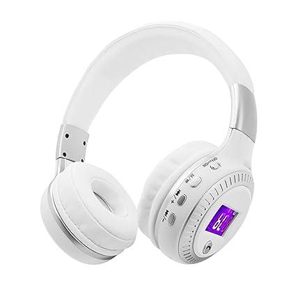 Bluetooth más de auriculares de botón, KINGCOO pantalla LED plegable ajustable inalámbrico Bluetooth 4.0 auriculares