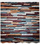 Ambesonne Urban Shower Curtain, Colored Stone Surface Texture Background Retro Style Urban Brick Wall Image, Cloth Fabric Bathroom Decor Set with Hooks, 70' Long, Mauve Teal