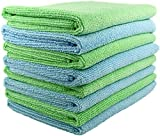 SecurOMax Thick Microfiber Cloth Towels (8 Pack) for Streak & Lint Free Household Cleaning, Dusting, Washing & Wiping - Large Size 16x16 Inches - 4 Blue + 4 Green (330 GSM)
