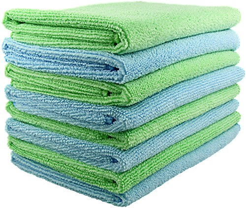 SecurOMax Microfiber Cleaning Cloth Towels (8 Pack) for Streak & Lint Free Household Cleaning, Dusting, Washing & Wiping - Large Size 15x15 Inches - 4 Blue + 4 Green (300 GSM)