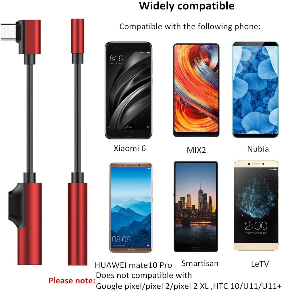Xiaomi 6 Mix 2 Nubia Leagway Type C to 3.5mm Audio Adapter LeTV Support Calling /& Charging Moto Z 90 Degree USB C to 3.5mm Audio Jack Headphone Converter Cable Compatible with Huawei Mate 10 Pro