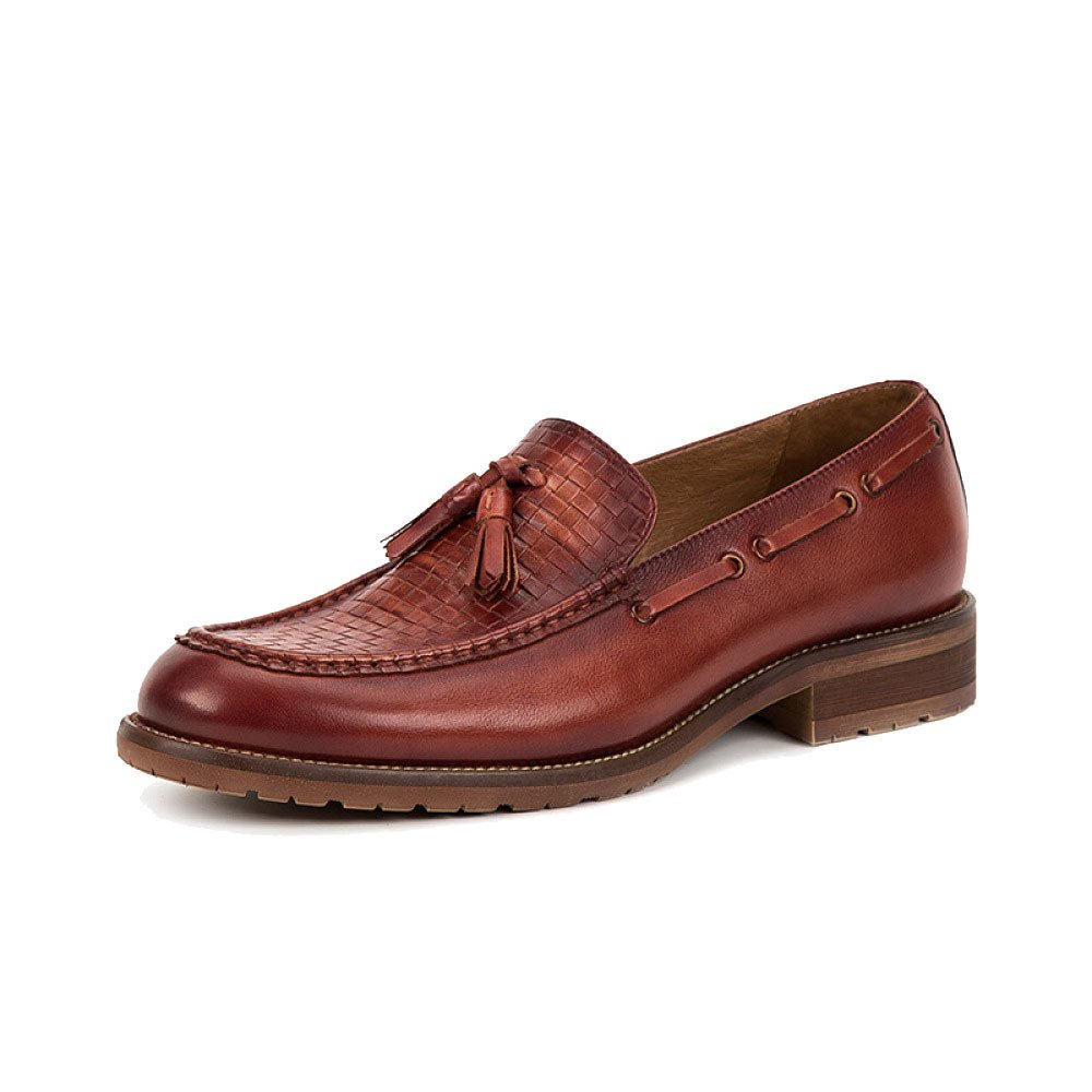 LYZGF Hombres Moda Casual Lazy Retro Driving Leather Shoes 39 EU|Redbrown