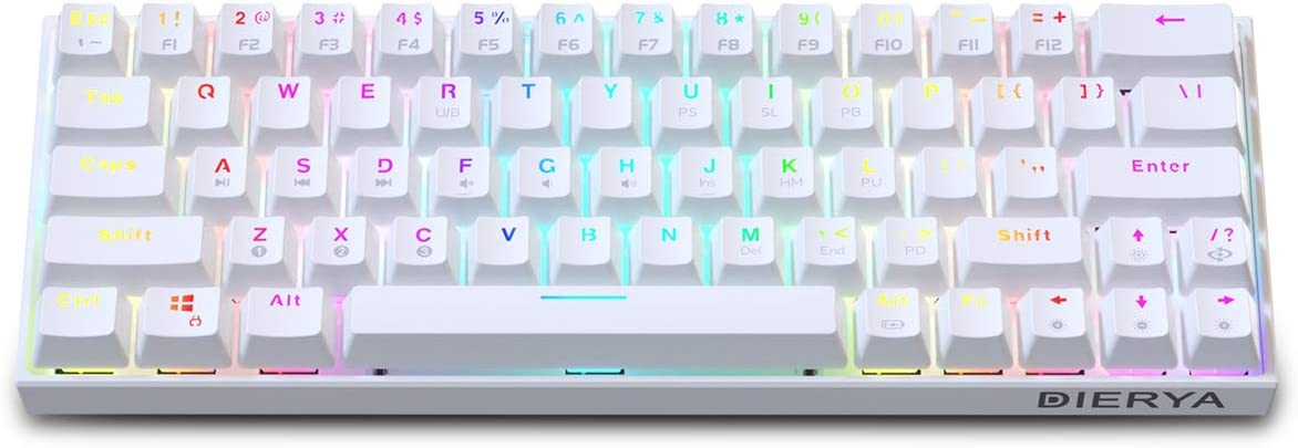 Dierya DK63 White RGB 60% Mechanical Gaming Keyboard