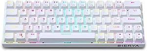 60% Keyboard with Dedicated Arrow Keys, White DIERYA DK63W Wireless Wired Mechanical Gaming Computer Keyboard True RGB Backlit Bluetooth 4.0 Programmable, N-Key Rollover for Windows Mac - Red Switch