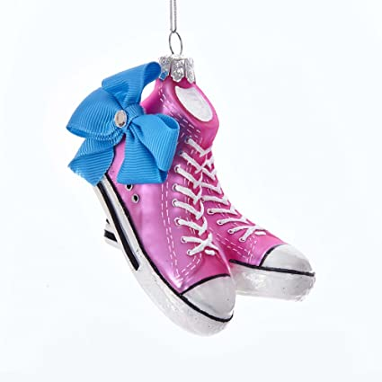 4ef6a94f22d Image Unavailable. Image not available for. Color  Kurt S. Adler 4 quot  JoJo  Siwa Pink Glass Sneakers with Bow Ornament