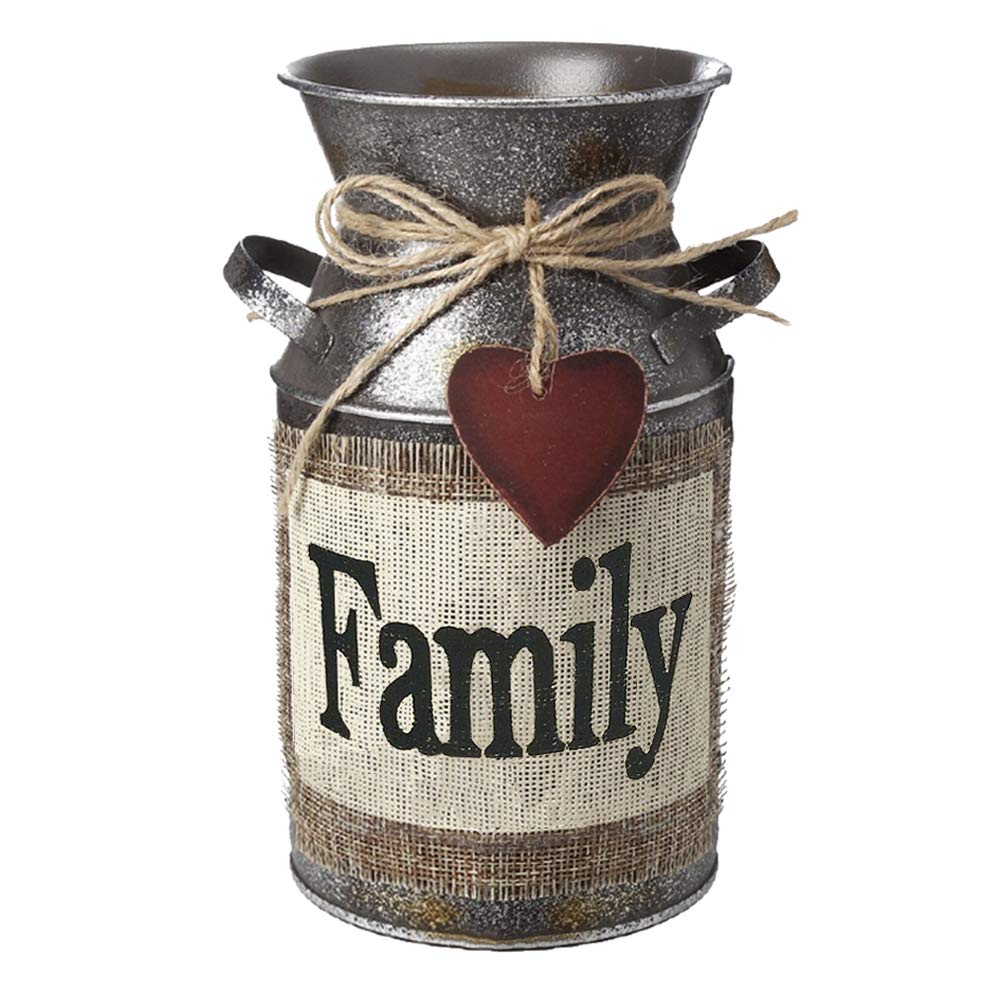 "IDoall 7.5"" High Rustic Decorative Vase with Greetings and Rope Design, Metal Milk Can Country Jug for Living Room, Bedroom, Kitchen (Family)"
