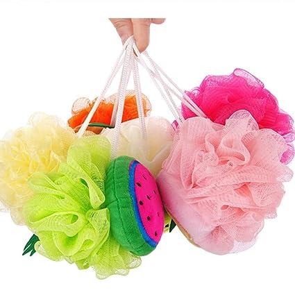 GLQ Bañera de baño Bola Toalla Color Fruta Forma/Lindo baño Flor baño/Espuma
