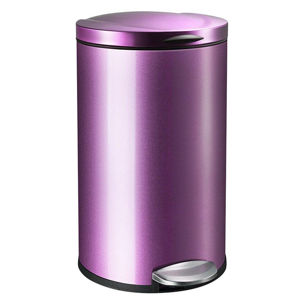 シュウクラブ@ ゴミ箱/コンチネンタル家庭用ステンレススチールフットタイプリビングルームキッチン円形ファッションアイデアゴミ箱/ブラウン/砂スチール/パープル12L (色 : Purple) B07C3GSDHF Purple