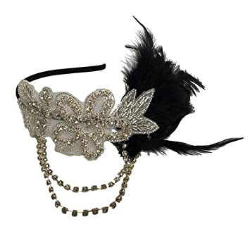 8796408e26b08 Pixnor 1920s flapper grande Gatsby copricapo fascia con piuma nero  dell annata
