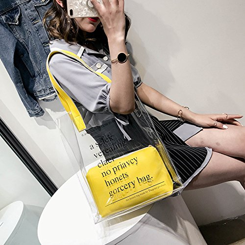 Yellow Jalea Bolso GWQGZ Pvc Moda Nuevo Transparente De Bolso Hombro Negro La De La De Del ZggqTx1Rw