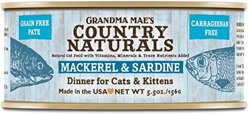 Grandma Mae S 79700185 5.5 Oz Grain Free Mackerel Sardine Dinner Cat Food 24 Pack , One Size