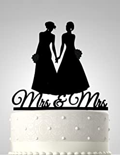 Amazon wedding collectibles romance gay lesbian wedding cake rubies ribbons lesbian wedding cake topper mrs mrs two women silhouette party decoration junglespirit Choice Image
