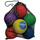 Franklin Sports Classic Playground Balls – Perfect for Gymnasium Games and Playground Games – Six Colored Playground Balls – Pump and Carrying Bag Included – Great for Kickball, Four Square and More