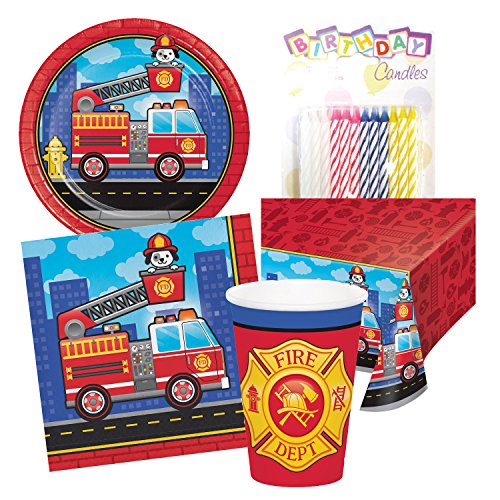 Flaming Fire Truck Fireman Puppy Birthday Party Tableware Deluxe Bundle Includes Plates Napkins Cups Table Cover Serves (Fire Truck Plate)