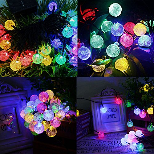 Solar String Lights 20 ft 30 Led Globe Crystal Multicolor Waterproof Multi-mode Bright Bubble Ambiance Lights Decorative for Outdoor Garden Patio Bistro Christmas Party Wedding Holiday (Multicolor) by Useber (Image #4)