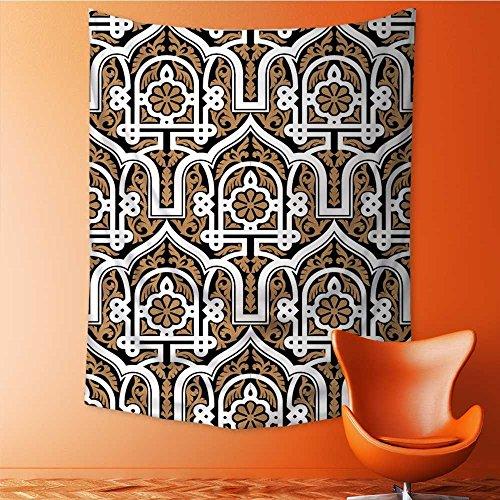 Vanfan Art Hippie Tapestry morocco seamless pattern traditional arabic islamic background mosque decoration element ocher Bedspread Picnic Bedsheet Tapestry 51W x 60L Inch by Vanfan