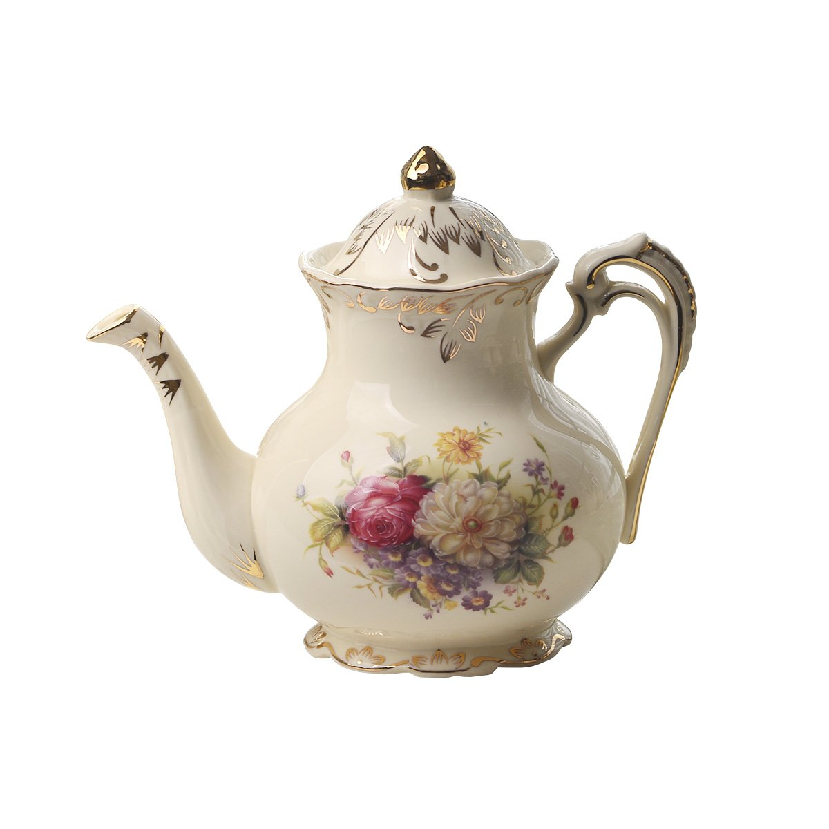 Flowering Shrubs Image Ivory Ceramic Tea Pot,Floral Vintage Teapot,29oz