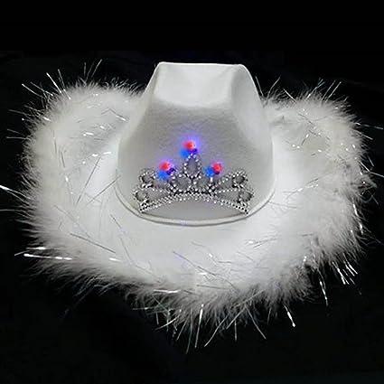 Cowgirl Hat Novelties company Light up Flashing Blue Feather Tiara Western Womens Cowboy