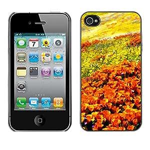 TopCaseStore / la caja del caucho duro de la cubierta de protección de la piel - Flowers Field Painting Art Orange Sky - Apple iPhone 4 / 4S