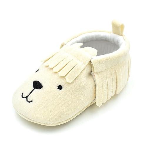 6aa0ae4dbe5e3 Amazon.com: Amiley Baby First Crib Shoes,Baby Bear Tassle Anti-Skid ...