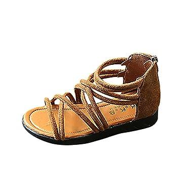 24f8175f6d9db EU21- 30 Bebe Fille ETE Sandales Plage Cuir Chaussures Plat Gladiateur  Sandales (Marron